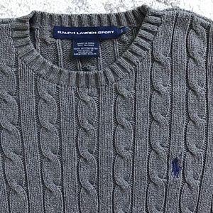 Ralph Lauren Sport Sm Grey Classic Cable Sweater